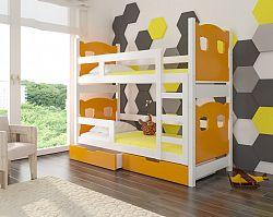 Dětská patrová postel Marika, bílá/oranžová + matrace ZDARMA!