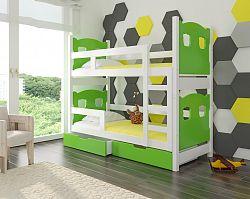 Dětská patrová postel Marika, bílá/zelená + matrace ZDARMA!