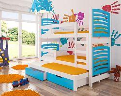 Dětská patrová postel Sonno, bílá/modrá + matrace ZDARMA!