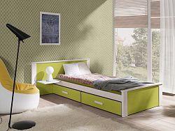 Dětská postel Almerie, 90x200cm, bílá/zelená