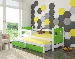 Dětská postel Cotto pro 2 děti, bílá/zelená + matrace ZDARMA!