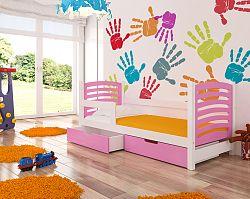 Dětská postel Crest, bílá/růžová + matrace ZDARMA!