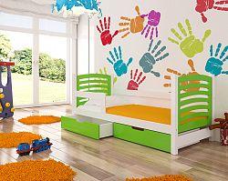 Dětská postel Crest, bílá/zelená + matrace ZDARMA!
