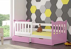 Dětská postel Lekra, bílá/růžová + matrace ZDARMA!