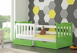 Dětská postel Lekra, bílá/zelená + matrace ZDARMA!