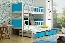 Dětská postel pro 3 děti Paris, bílá/modrá + MATRACE