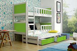 Dětská postel pro 3 děti Paris, bílá/zelená + MATRACE