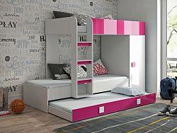 Dětská postel pro 3 děti Thiago, bílá/růžový lesk