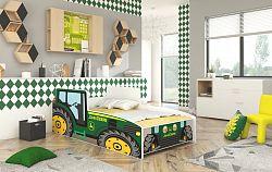 Dětská postel Traktor zelený 160x80 + matrace ZDARMA!