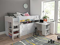 Dětský pokoj s postelí Trego, bílá/bílý lesk