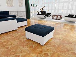 Moderní taburet Kler menší, bílá/modrá Mono