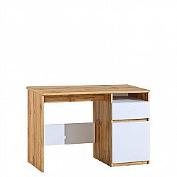 PC stůl Arletta 7, dub wotan/bílá