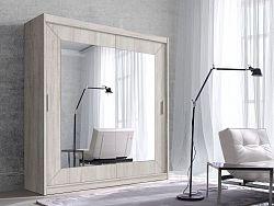 Šatní skřín Alena 200cm, sonoma/zrcadlo
