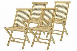 Divero 33137 Skládací židle z týkového dřeva 4 kusy