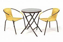 Garthen 35222 Zahradní set BISTRO 2 židle + stůl - béžový polyratan