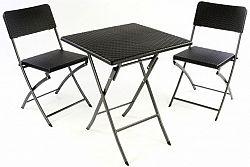 Garthen 37114 Zahradní set stůl a 2 židle ratanového vzhledu, skládací