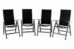 Garthen 40773 Sada čtyř zahradních hliníkových židlí DELUXE - černá