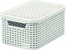 Košík box s víkem - S - krémový CURVER