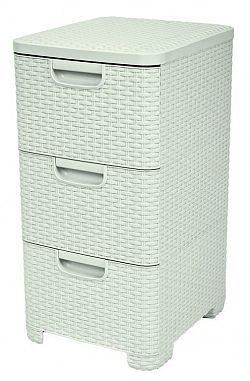 Skříňka ratanového vzhledu - 3x14L - krémová CURVER