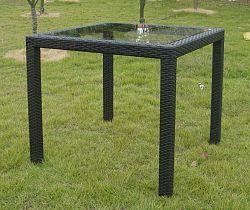 Stůl z černého ratanu se skleněnou deskou 80x80cm