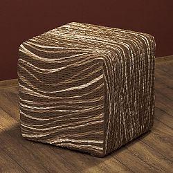 GA.I.CO decoDoma napínací potah bielastický UNIVERSO žíhané hnědé na taburet 40 x 40 x 40 cm