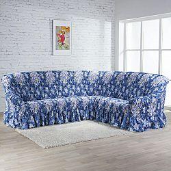 GA.I.CO Napínací potahy na rohovou sedačkuy s volánem FIORELA modrá na rohovou sedací soupravu 350 - 530 cm
