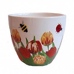 Keramický květináč Tulipány a broučci pr. 14 cm