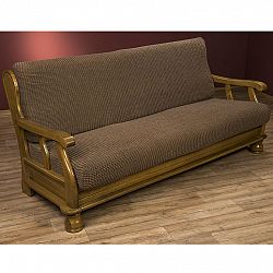 Nueva Textura decoDoma napínací potahy na sedací soupravu strečový GLAMOUR tabákové na sedačku - dvojkřeslo s dřevěnými rukojeťmi 140 - 170 cm