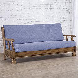 Nueva Textura decoDoma napínací potahy na sedací soupravu strečový NIAGARA modrá na sedačku - dvojkřeslo s dřevěnými rukojeťmi 130 - 160 cm