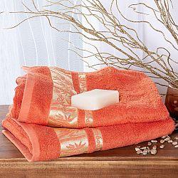 Sada bambusových ručníků se zlatou bordurou MERUŇKOVÉ 2 ks Mimořádně hebké na dotek <p style=