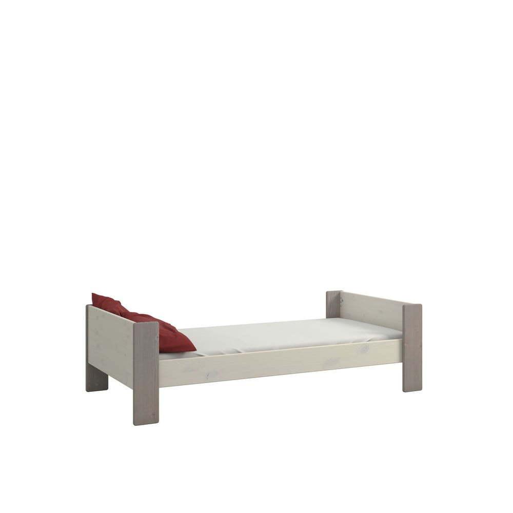 Bílá dětská postel z borovicového dřeva s šedými nohy Steens For Kids, 90x200cm