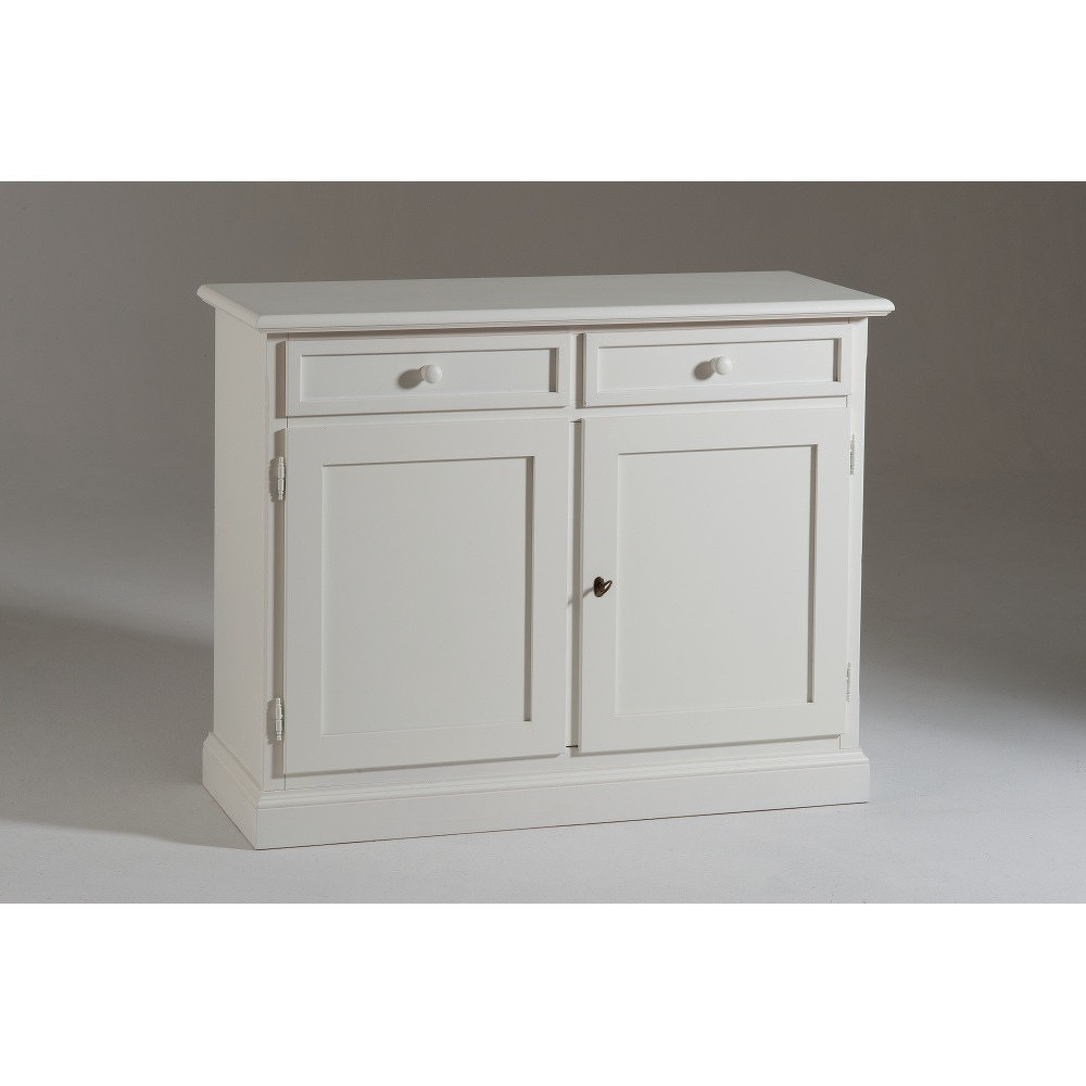 Bílá dřevěná dvoudveřová komoda se 2 zásuvkami Castagnetti Spiagga