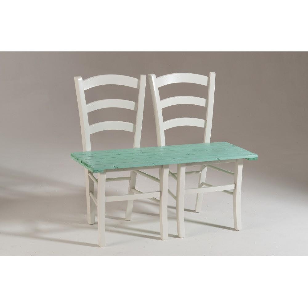 Bílo-zelená dřevěná lavice pro dva Castagnetti Fir