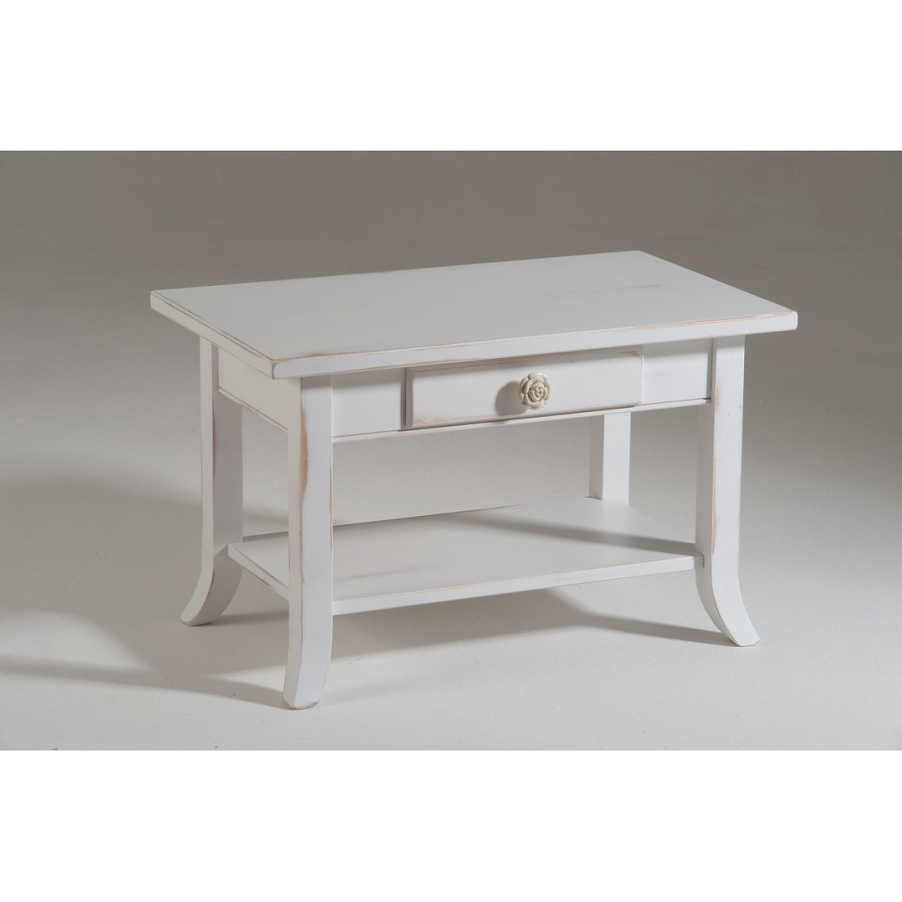 Bílý dřevěný odkládací stolek Castagnetti Elle