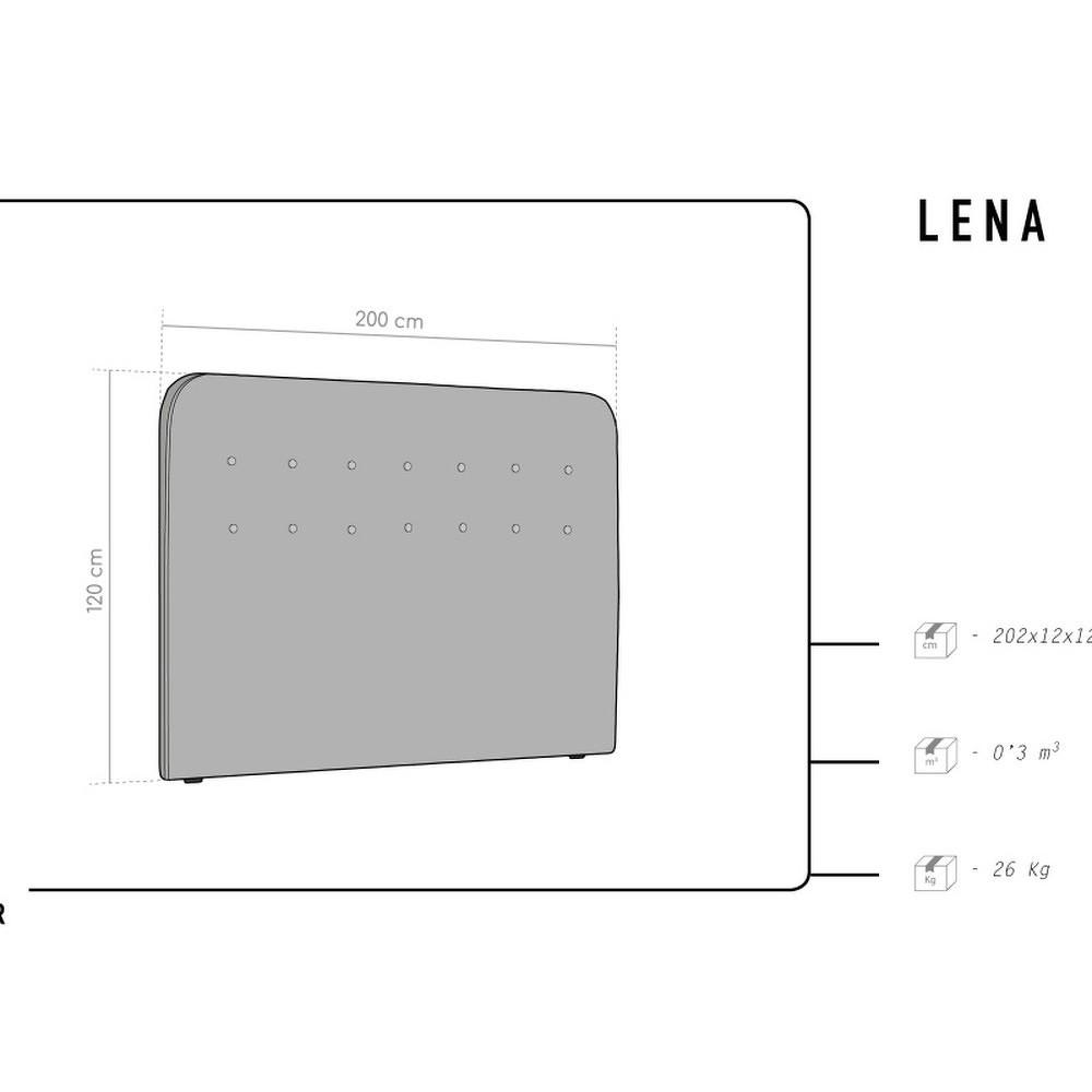 Burgundové čelo postele HARPER MAISON Lena, 200 x 120 cm