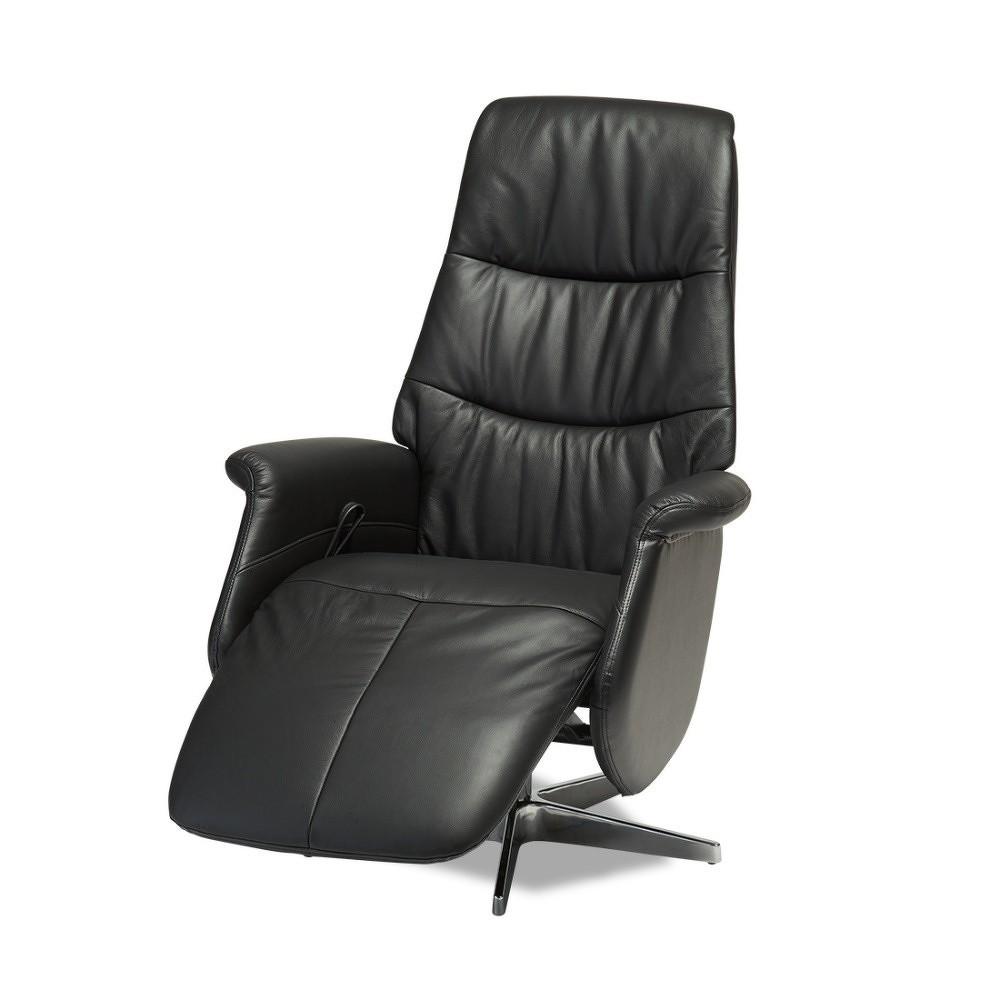 Černá kožená polohovací židle Knuds Delta