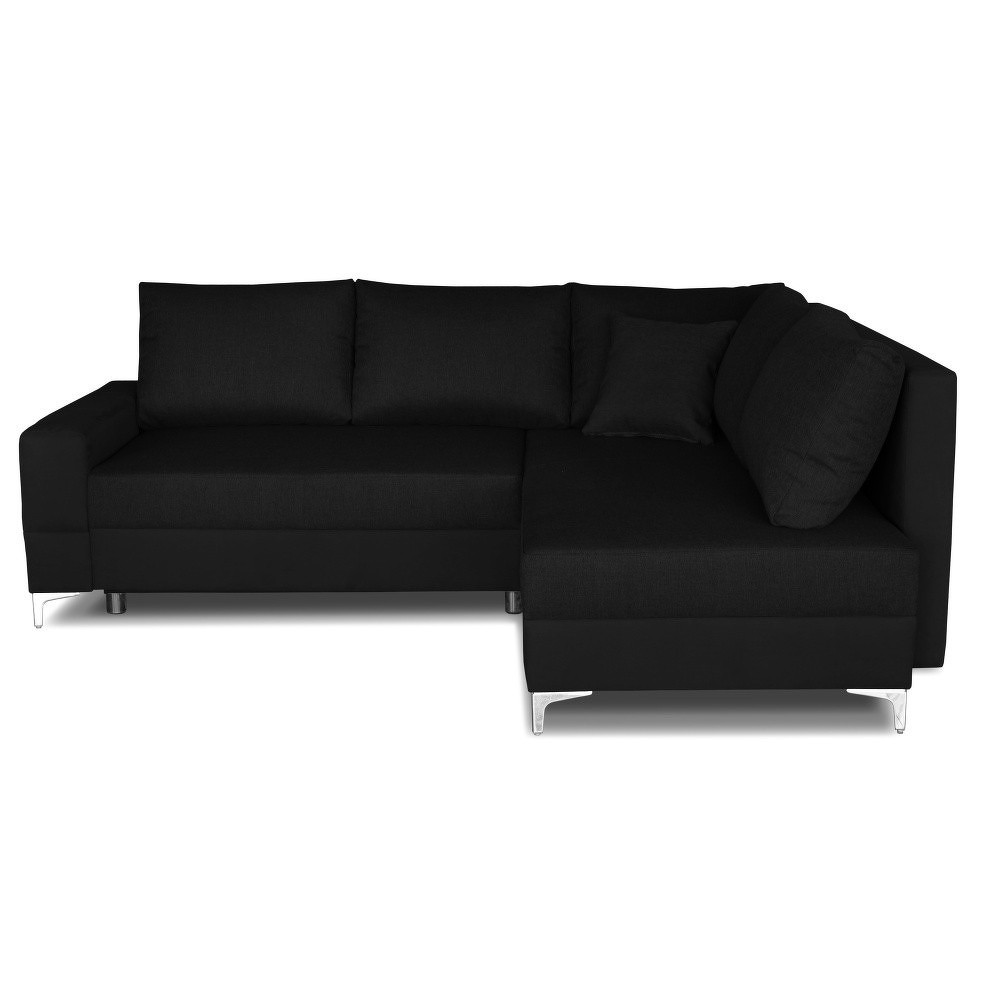 Černá rohová rozkládací pohovka Windsor&Co. Sofas Zeta, pravý roh
