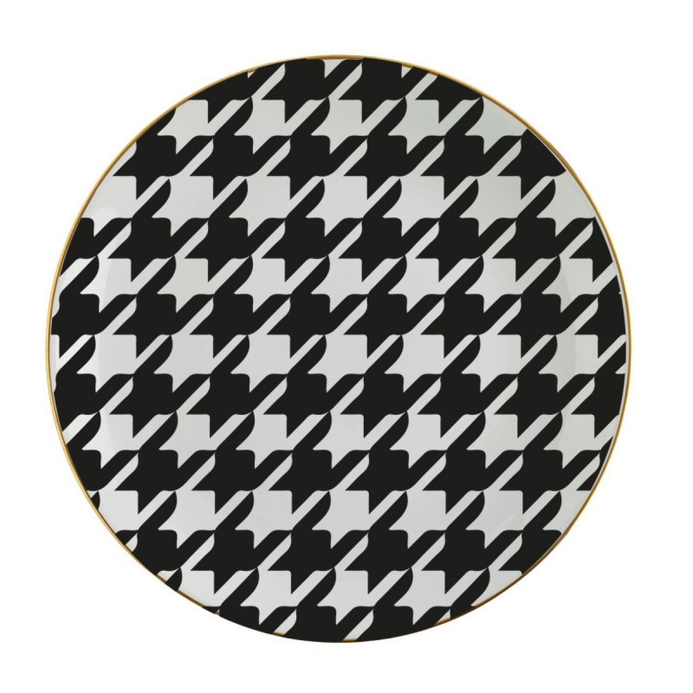 Černobílý porcelánový talíř Vivas Goose, Ø23cm