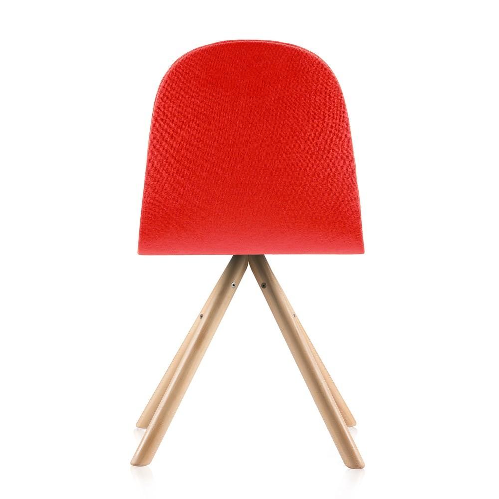 Červená židle s přírodními nohami IkerMannequinStripe
