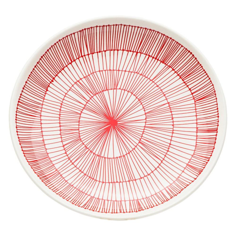 Červený kameninový talíř Kare Design Net, Ø 21 cm