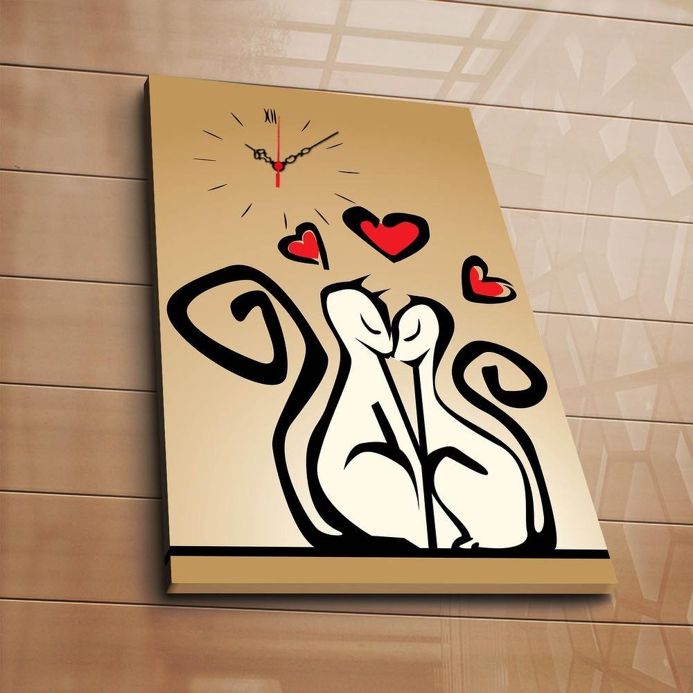 Dekorativní nástěnné hodiny Kočky, 30x70 cm