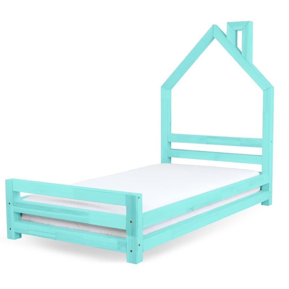 Dětská tyrkysová postel z borovicového dřeva Benlemi Wally,120x200cm