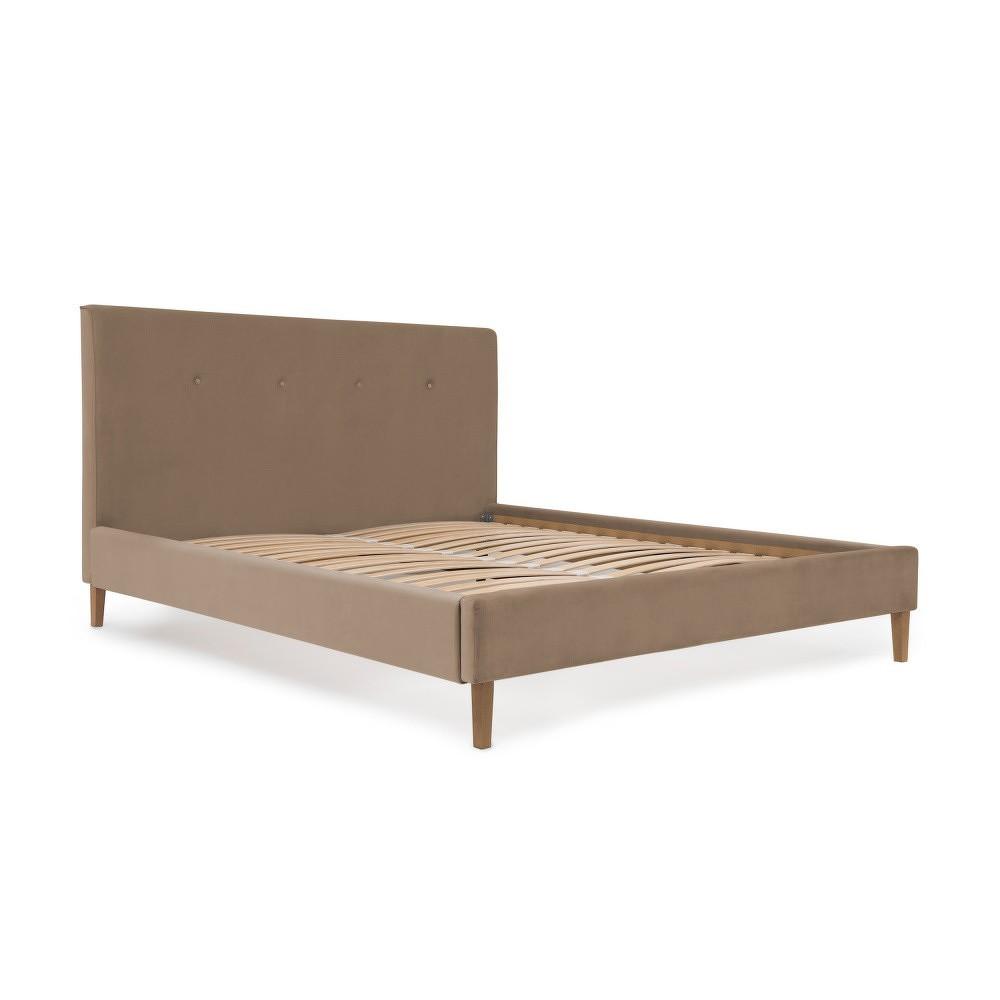 Hnědá postel s přírodními nohami Vivonita Kent,140x200cm