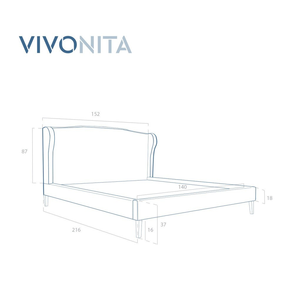 Hnědá postel z bukového dřeva s černými nohami Vivonita Windsor, 140 x 200 cm