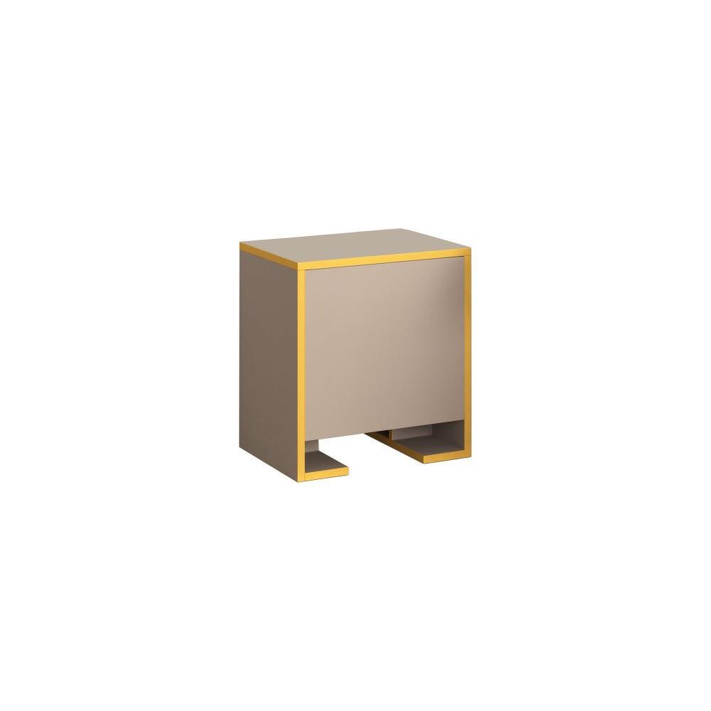Hnědý noční stolek s hořčicově žlutými detaily Homitis Payti