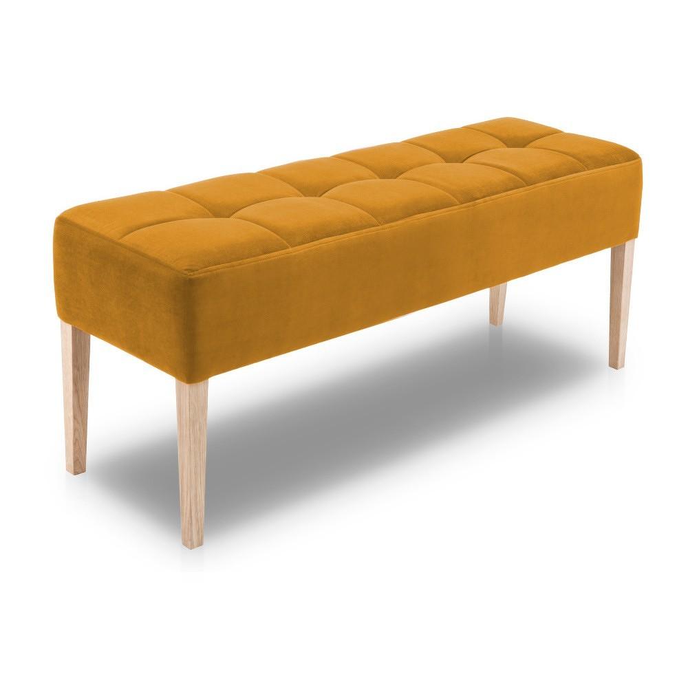 Hořčicově žlutá lavice s dubovými nohami Mossø Hattu, délka 132 cm