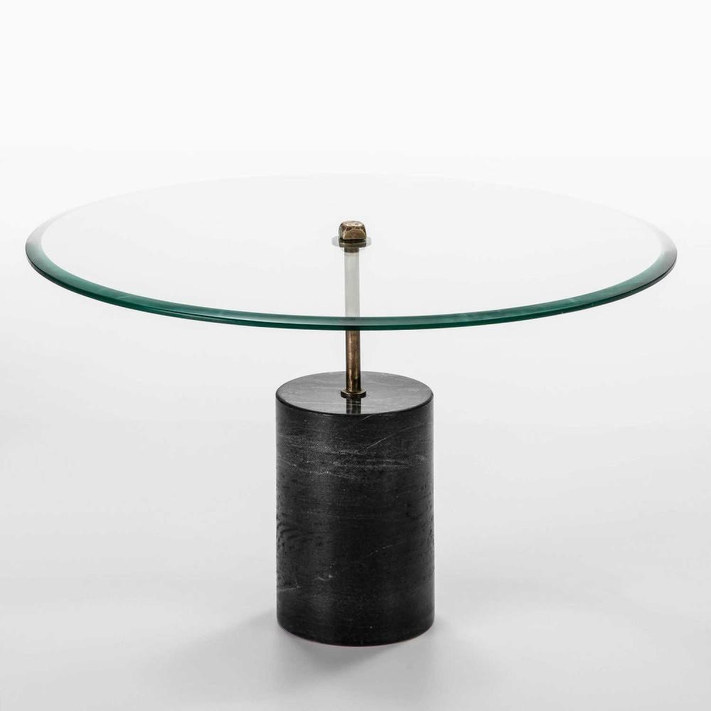 Konferenční stolek ze skla a černého mramoru Thai Natura Johny, Ø 81 cm