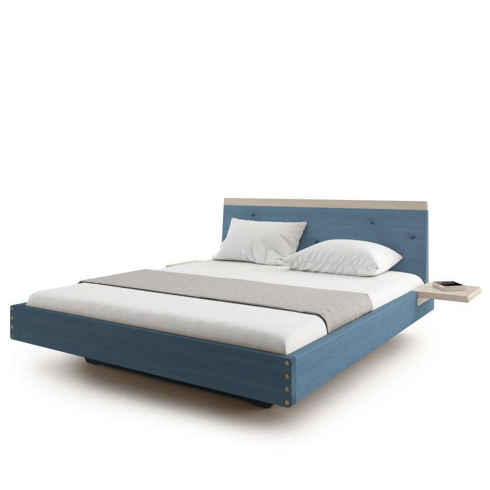 Modrá dvoulůžková postel z masivního dubového dřeva JELÍNEK Amanta, 180x200cm
