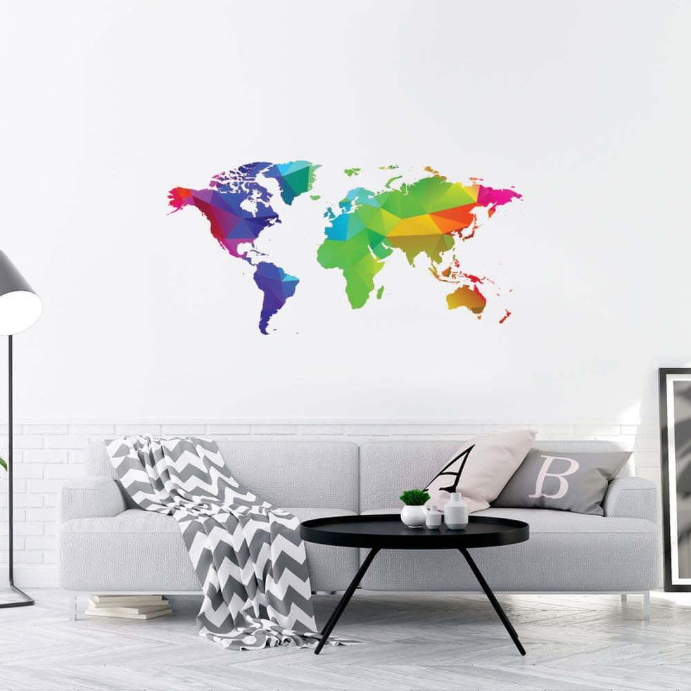 Nástěnná samolepka Ambiance Wall Decal Origami Rainbow World Map, 40 x 80 cm