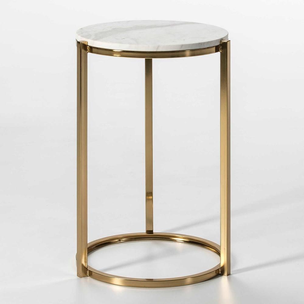Odkládací stolek ve zlaté barvě s deskou z mramoru Thai Natura Khao